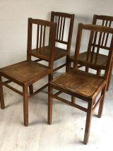 """Ensemble de 4 chaises """"ELF Indislocables"""" vintage 50's"""