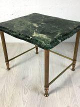 Petite table d'appoint en laiton et marbre vert