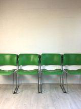 4 Chaises 40/4 vertes par David Rowland pour General Firepro