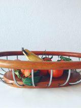 Corbeille à fruit vintage métal chromé et bois