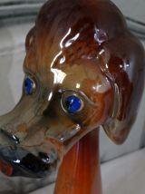 Grand chien en céramique vintage signé spoiler & Quaregnon