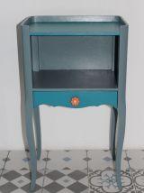 Jolie paire de tables de chevet relooké gris et bleu canard