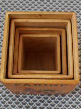 Milieu du siècle pots de cuisine, pots en bois décor coq