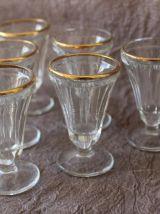 6 Verres à liqueur anciens à pied avec liseré doré début 20è