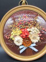 2 cadres verre bombée fleurs séchées, vintage, kitch