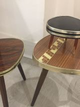 Lot Petites tables Tripode, authentique, vintage en formica.