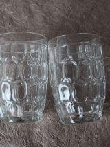 Lot de 4 chopes à bière vintage en verre épais alvéolé