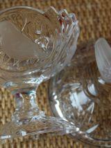 BONBONNIERE en cristal sur pied décor oiseaux