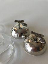 Duo salière et poivrière en verre et métal argenté pomme