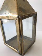 Lanterne vintage en laiton et verre