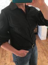Chemise noire manches bouffantes