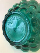 Carafe Italienne en verre bleu pétrole