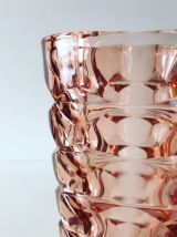 Grand vase vintage en verre moulé rose