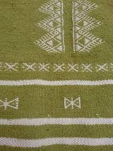 Tapis kilim vert et blanc fait main vert et blanc