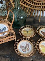 Dessous de verres en rotin papillons naturalisés