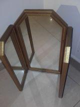 Miroir de table en triptyque français ancien en bois doré