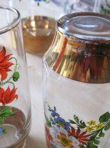 Service à orangeade vintage avec 8 verres et pichet