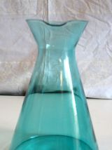 Pichet vase type Erlenmeyer verre bleu