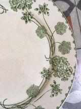 Six assiettes plates anciennes dépareillées en vert.