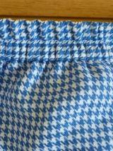 Jupe vintage pied de poule bleu et blanc en bon état