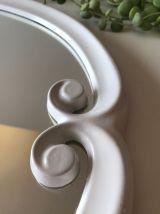 Deux miroirs vintage en fonte émaillée blanc ovale