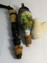 """Pipe à fumer à fourneau porcelaine motif """"cerfs"""""""