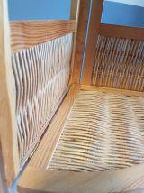 étagère d'angle bois et rotin vintage pliable des années 70