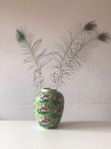 Grand vase en céramique décor floral