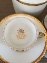 6 tasses et sucrier porcelaine d'art Limoges