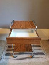 table de chevet vintage en formica marron avec tiroir