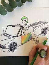 Coloriage vintage| adultes Pinups et voitures | Sérigraphie