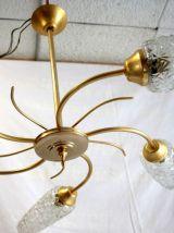 Lustre 5 feux en métal doré – années 60