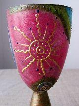 Joli verre  ciboire décoratif peint à la main -