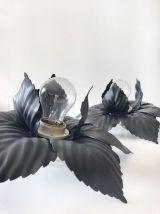 Paire d'applique murale forme fleur en métal noir