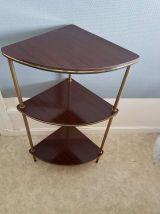 étagère d'angle en formica vintage et structure en métal