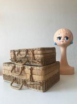 Ensemble de deux petites valises vintage en osier