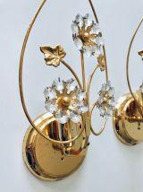 Paire d'applique dorées avec papilles style design Palwa