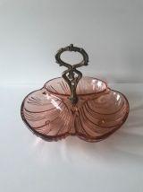 Plat art déco en cristal rose Bayel