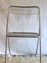 Chaise pliante métal grillagé – 70's