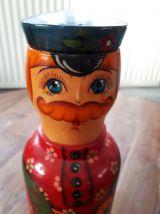 """Ancien cache bouteille poupée russe """"homme et son oie"""""""