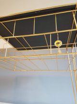 desserte vintage verre trempé et structure doré à l'or fin