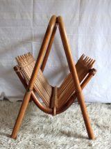 Porte-revue en bambou et rotin – années 60