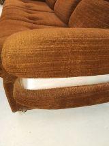 Canapé convertible vintage brun années 70