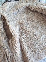 Blouson veste marron façon peau retournée T42