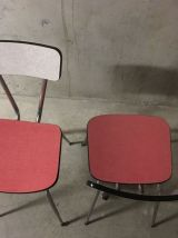 Paire de chaises bicolores en formica années 60