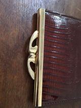 Ancien porte monnaie à soufflets en cuir marron façon croco.