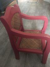Chaise enfant vintage en bois, repeinte, assise et dosseret