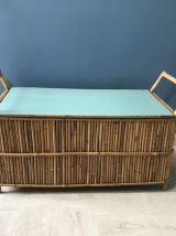 Coffre à jouets banquette  Table basse en rotin vintage 1960