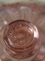Sucrier Art Deco  en verre moulé rose REIMS Déposé