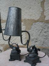 ENSEMBLE DE 2 LAMPES A POSER ESPRIT INDUSTRIEL